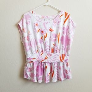 Anthro Postmark Belted Tee White Pink Floral L